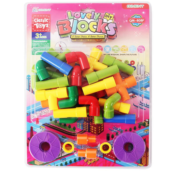 veZve Building Blocks Set Pipe Shape Pieces Learning Play Educational Construction Creative Puzzle Toys For Kids 3+ Ages