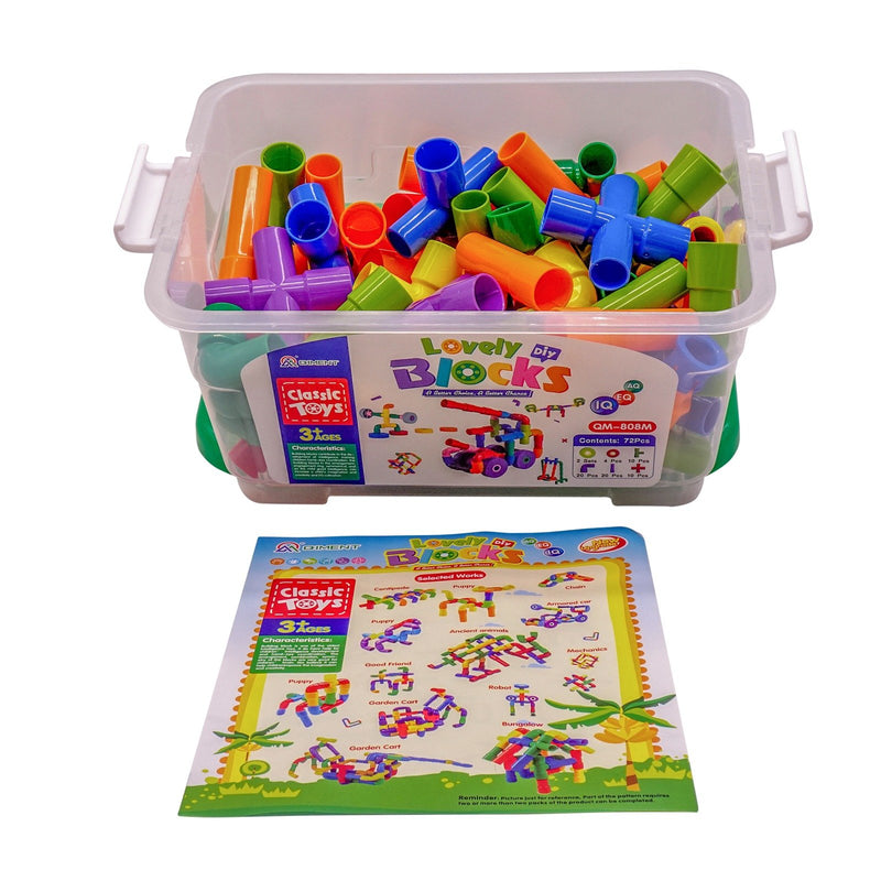 veZve 72 Pcs Building Blocks Set Bullet Shape Pieces Learning Play Educational Construction Creative Puzzle Toys In Storage Box For Kids 3+ Ages Green