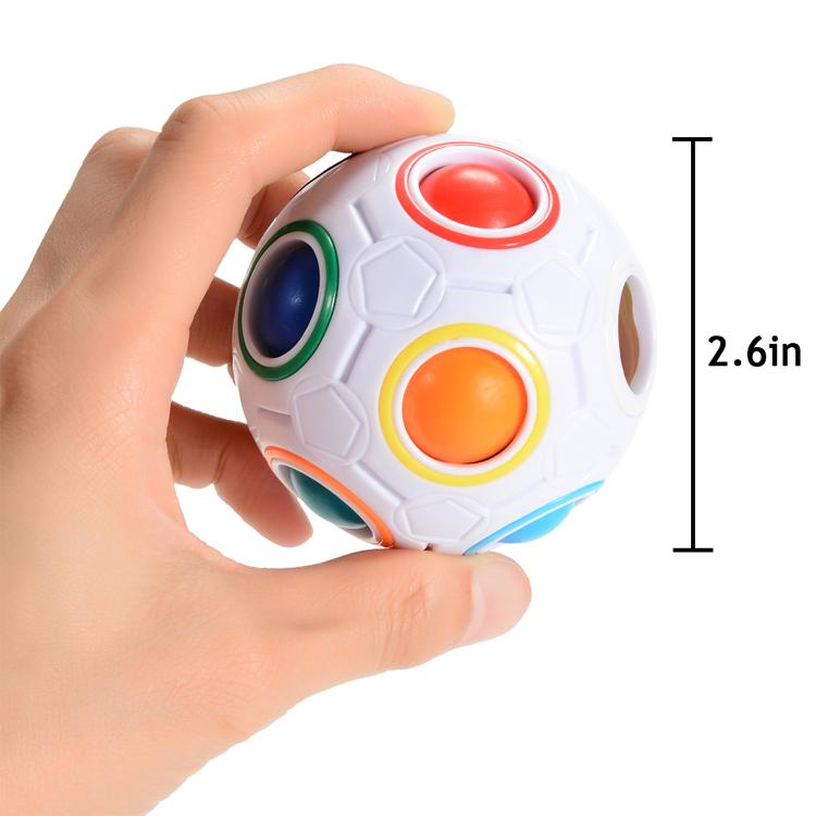 veZve Magic Puzzle Ball Rainbow 11 Colors Fidget Toy Brain Teaser Stress Fun Travel Logic ADHD Cube