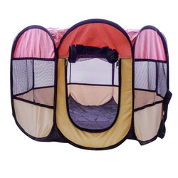 Portable Foldable Pet Collapsible Fast Install Travel Pink Bowl Exercise Playpen Indoor Outdoor Nursery Water Resistant Removable Mesh Shade Cover For Dogs Cats Small Animals Small