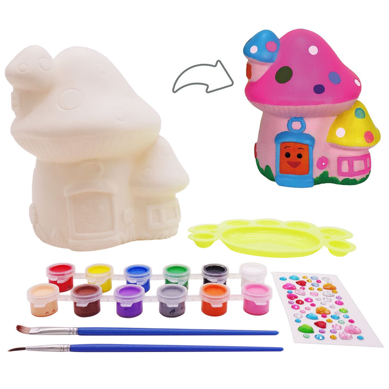 Decorate It Yourself Color Mushroom Money Bank Kit Painting Set for Creative Children with Artist Skills