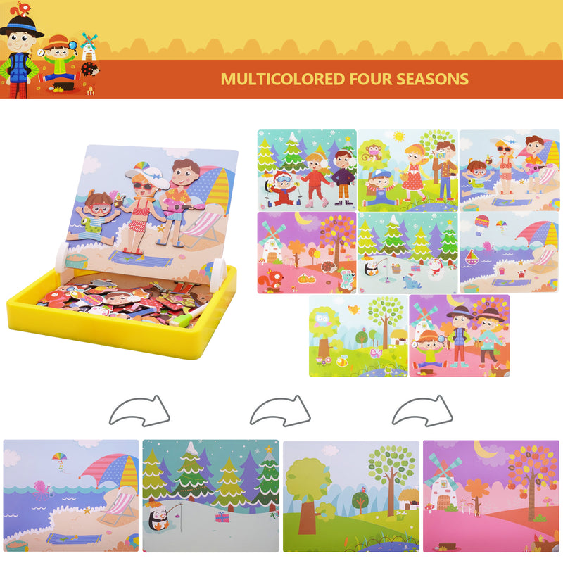 Kids Portable Pretend Play Magnetic Puzzles Multicolor Four Seasons Edition Educational Toy