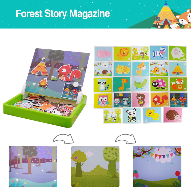 Kids Educational Double-Side Magnetic Creative Puzzles with White Drawing Board Forest Edition