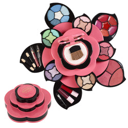 Beauty Rose-Shaped Portable Makeup Pallete Face Training Kit Pretend Play Washable Color Cosmetics for Teen Girls