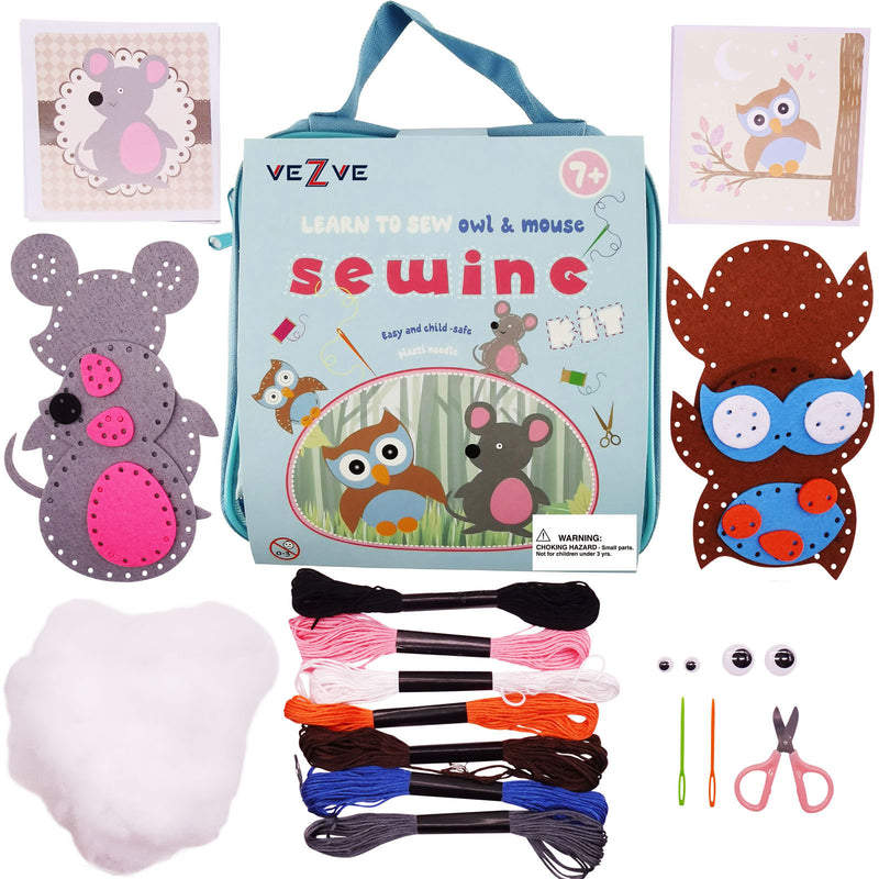 Kids Beginner Sewing Kit DIY Starting Owl Mouse Crafting Set for Boys Girls