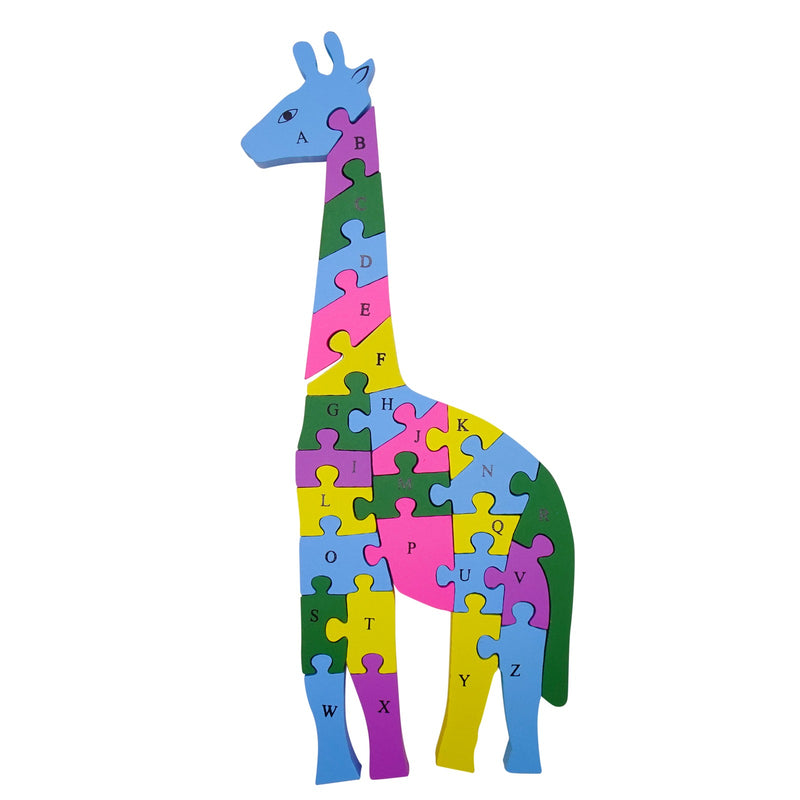 Kids Wooden Jigsaw Puzzles Animal Giraffe Toy for Boys Girls Color Puzzle Pieces for Education