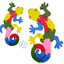 Toddlers Color Lizard Jigsaw Wood Puzzles Educational Learning Toy for Kids of 3 Years Old