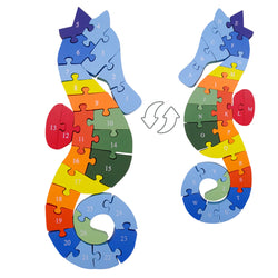 Seahorse Color English Letters & Numbers Jigsaw Wood Puzzles for 3+ Year Old Kids Boys Girls Educational Puzzles