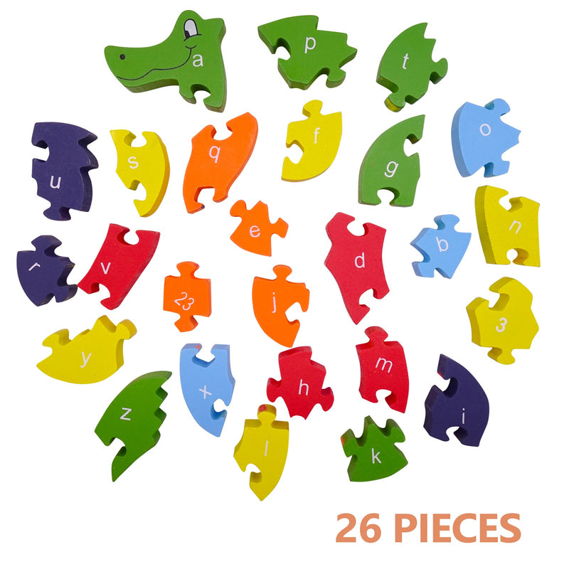 Jigsaw Educational Wood Puzzles for Kids Boys Girls Color 26 Pieces with Numbers & Letter Animal Snake Puzzle Toy