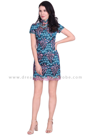 DT1582 Floral Embroidered Mesh Lace Cheongsam Shift Dress - Teal