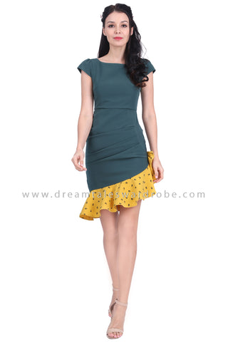 DT1622 Asymmetrical Ruffle Hem Dress - Teal