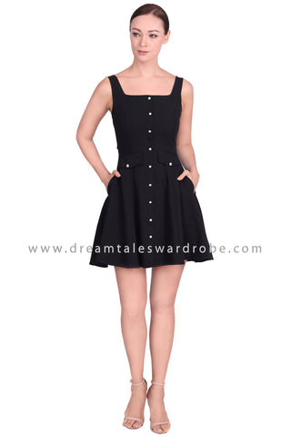 DT1553 Sleeveless Square Neck Dress -  Black