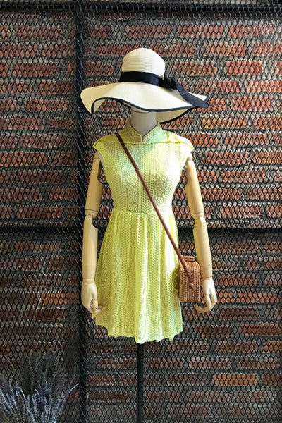 DT0185 Lace Skater Dress - Yellow