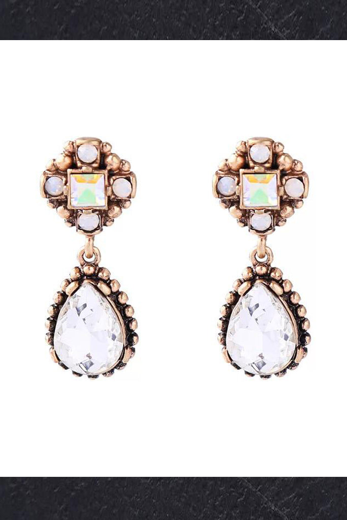 DT012E Jewel Stone Tear Drop Earring - White