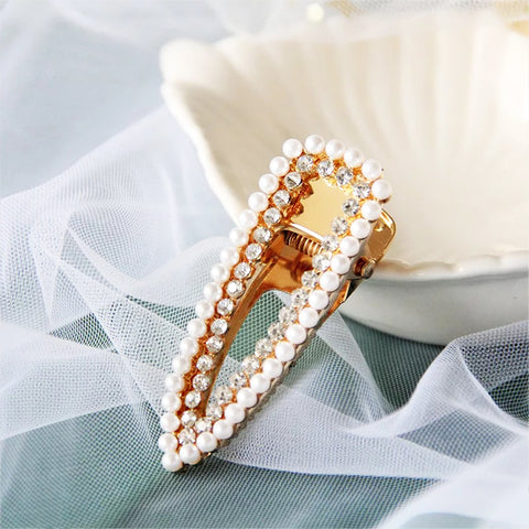 DT007H Pearl Rhinestone Snap Clips - White