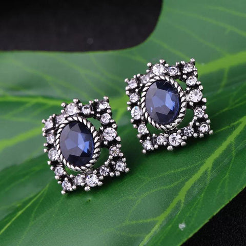 DT005E Statement Blue Stone Earring - Blue