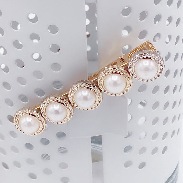 DT008H Fancy Style 5 Pearls Hair Accessories - White