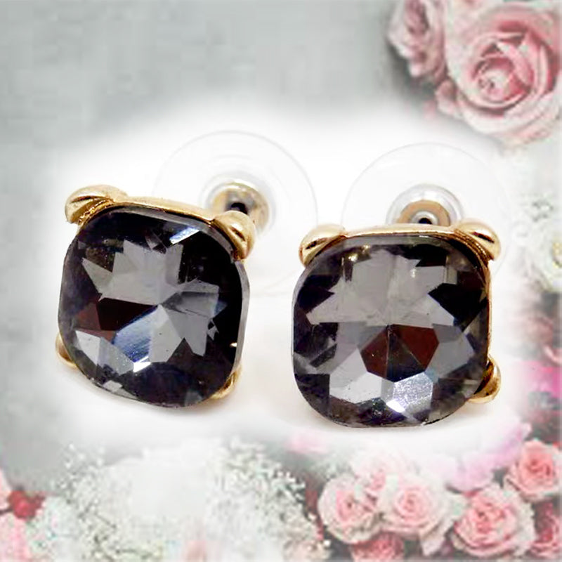 DT091E - Crystal Textured Square Stud Earring - Romance Black