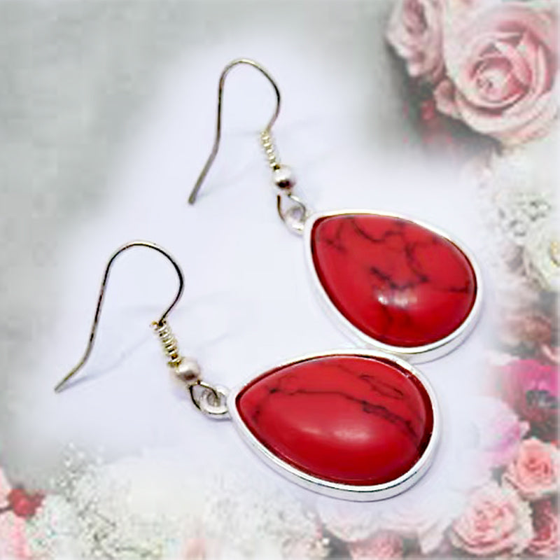 DT094E - Teardrop Wire Hook Earring - Red