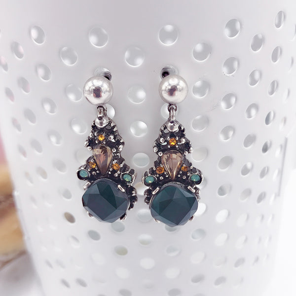 DT099E - Crystal Drop Earring - Green