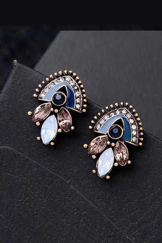 DT009E Multi Colour Stone Earring - Copper