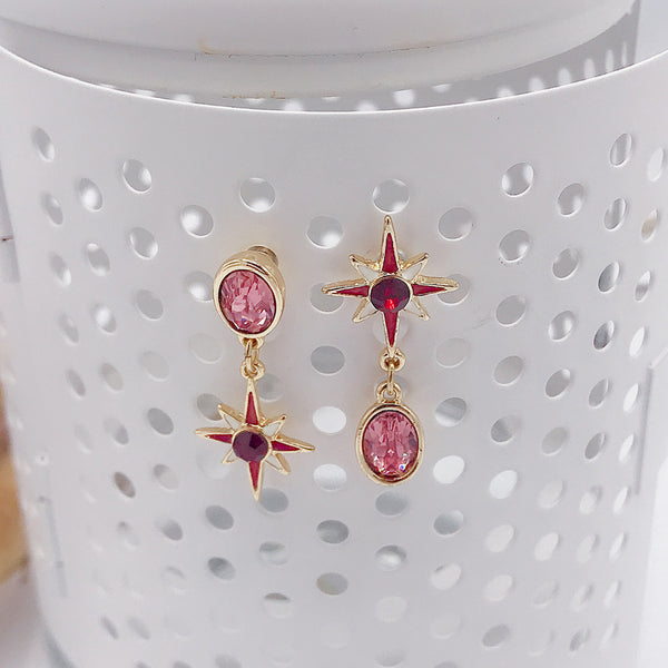 DT101E - Fancy Crystal Star Drop Earring - Red