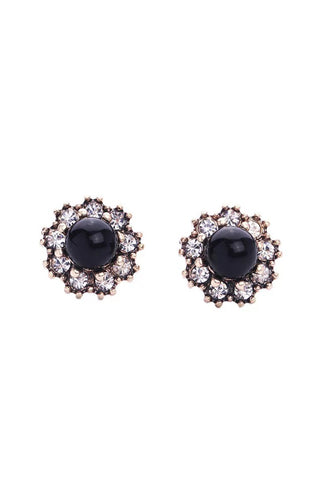 DT017E Elegant Black Pearl Single Earring - Rose Gold