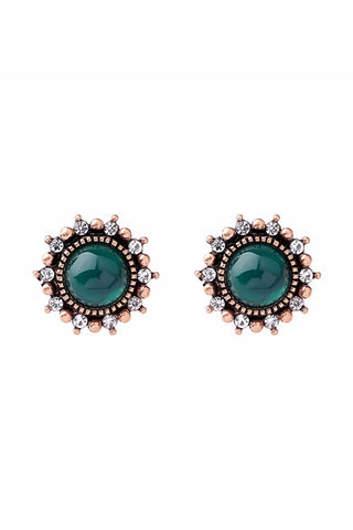 DT019E - Emerald Green Round Earrings - Emerald Green