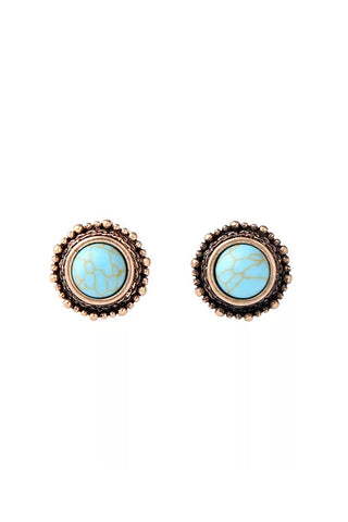 DT020E - Round Turquoise Marbles Earrings - Turquoise