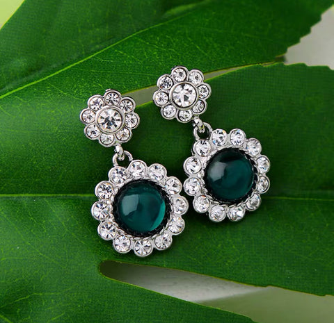 DT027E - Statement Flower Shape Drop Earrings - Emerald