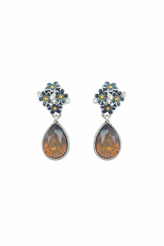 DT052E - Bronze Teardrop Earrings - Brown