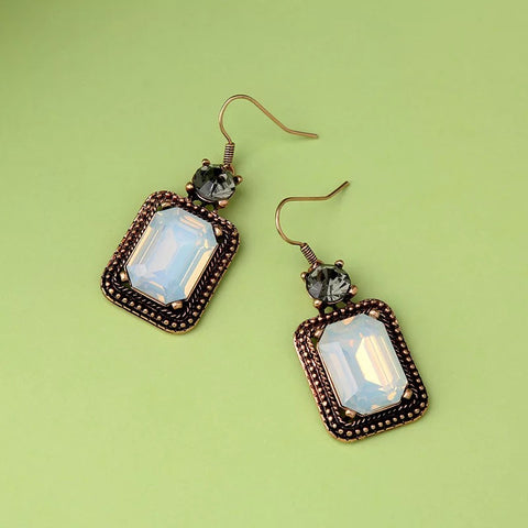 DT055E - Rectangular Crystal Drop Earrings - White