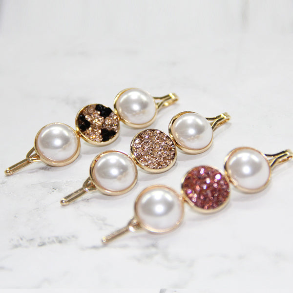 DT065E - Crystal with White Pearl Hair Accessories - Pink