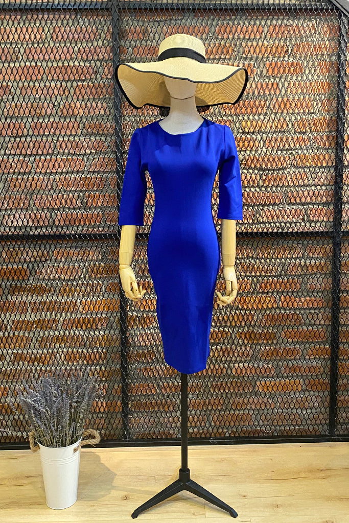 DT0674 Plain Pencil Dress - Blue