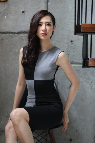 DT0728 Contrast Pencil Dress - Gray