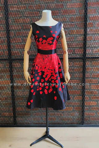 SDT0734 Floral Print Fit & Flare Dress - Black With Red Floral