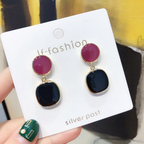 DT074E - Classy Dual Colors Drop Earrings