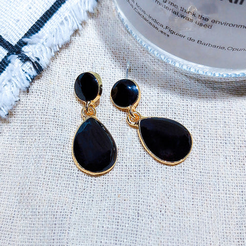 DT075E - Elegant TearDrop Earrings - Black