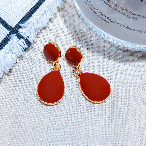 DT075E - Elegant TearDrop Earrings - Red
