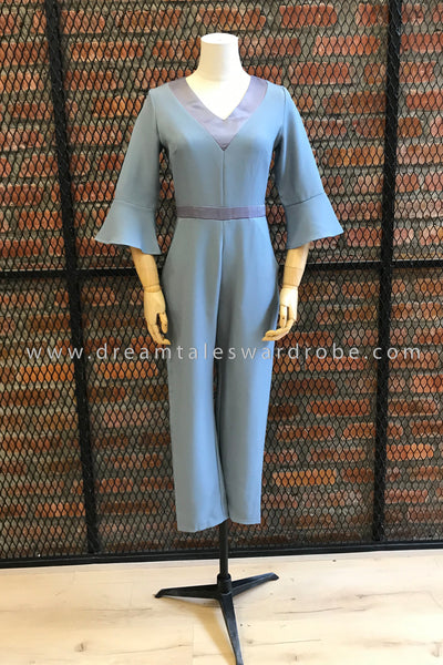 DT0762 V Neck Flare Sleeves Jumpsuit - Blue