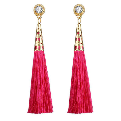 DT076E - Pink Tassel Earrings - Pink
