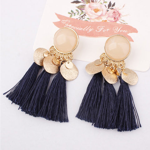 DT077E - Tassel Drop Earrings - Blue