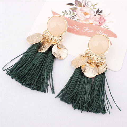 DT077E - Tassel Drop Earrings - Green