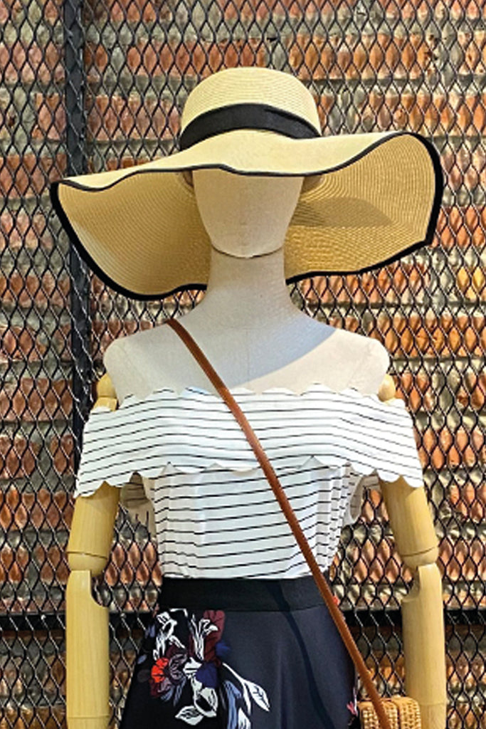 DT0782 Off Shoulder Stripes Top - White