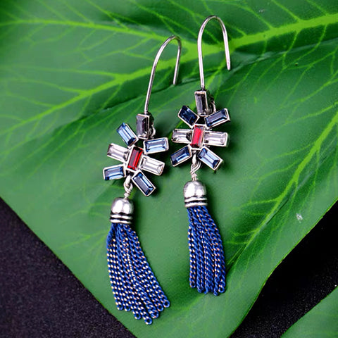 DT079E - Elegant Blue Bread Dangle Earrings - Blue