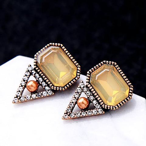 DT080E - Diamond Stone Earring - Dark Golden