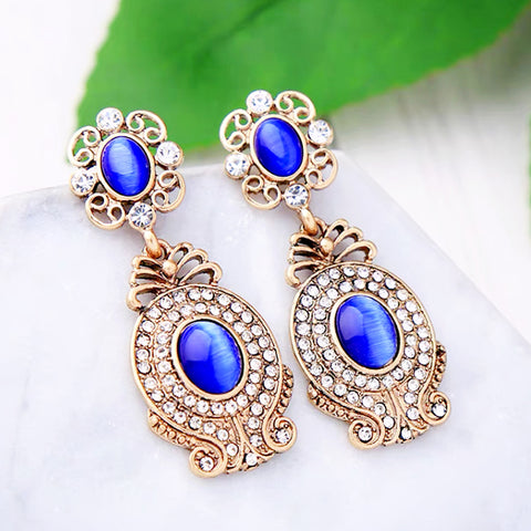 DT083E - Elegant Blue Stone Drop Earrings - Blue