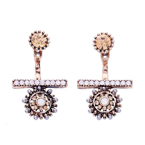 DT084E - Silver Flower Ear Jacket Earring - Rose Gold