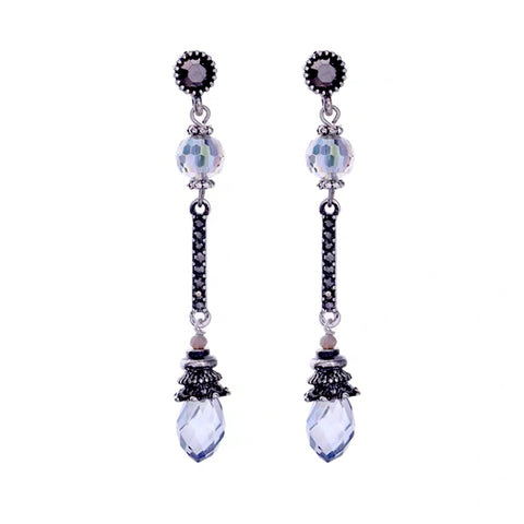 DT087E - Crystal Drop Earring - Blue
