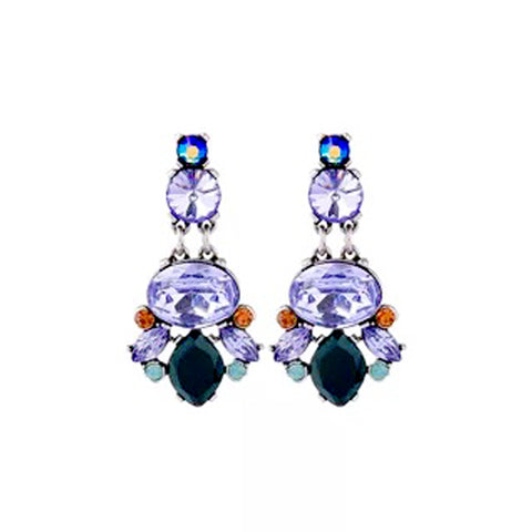 DT088E - Crystal Earring - Purple